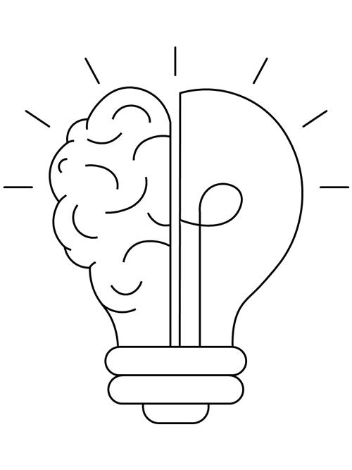 Lightbulb Brain Coloring Page Printable Coloring Pages Coloring Pages Printable Coloring