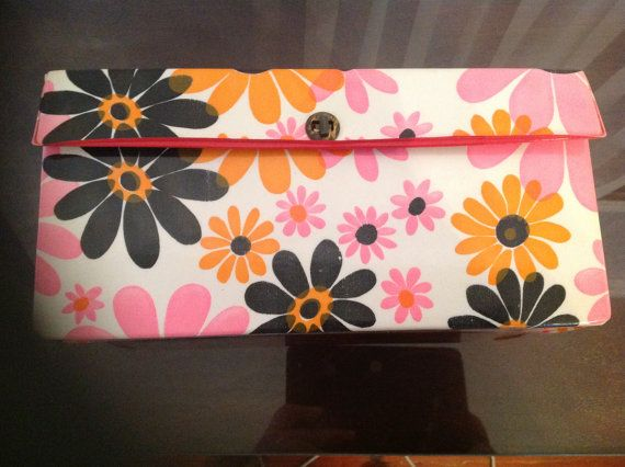 1960's rare flower power 8-track case...  Love the pink flowers!