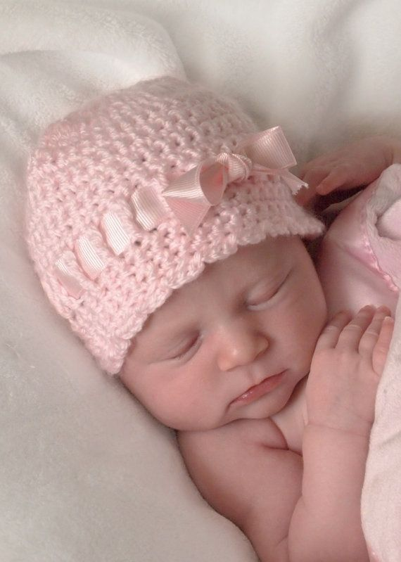Baby girl hat is crocheted by hand in softest pale pink yarn with scalloped  edge ... f3dff2246bd
