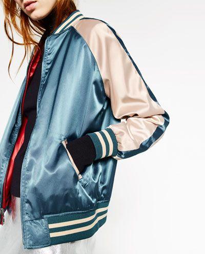 Bleu Bomber Reversible Rouge Pinterest Fashionistas Zara fn84Og