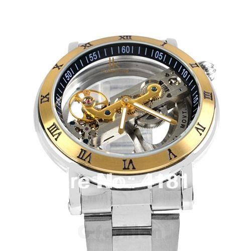 IK Automatic Mechanical Watch Dial Hollow Skeleton Mens Waterproof Watches 70cff0837daa7