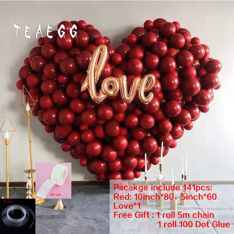 141 Stück Granatapfel Red Balloon Garland Arch Kit für Valentinstag Hochzeit LIEBE Folie Globos Party Ballons Dekoration Zubehör - aliexpress.com