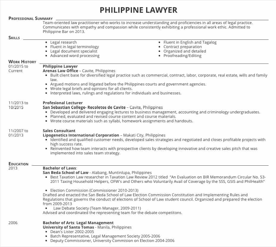 Resume Samples for Lawyers in the Philippines in 2020