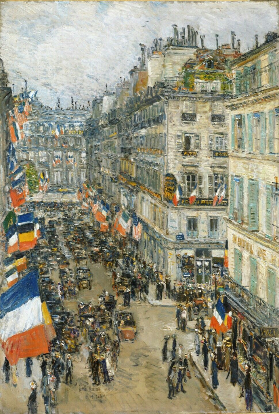 Details about hassam garden painting ceramic bathroom tile murals 2 -  July Fourteenth Rue Daunou 1910 Painting By Childe Hassam American