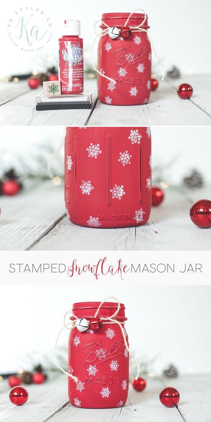 DIY stamped snowflake mason jar holiday decor.