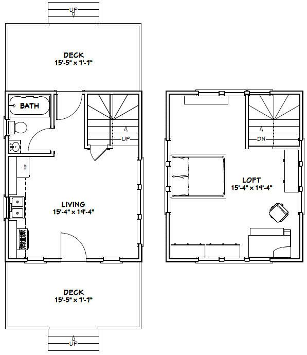 16x20 House 1-Bedroom 1-Bath 574 sq ft by