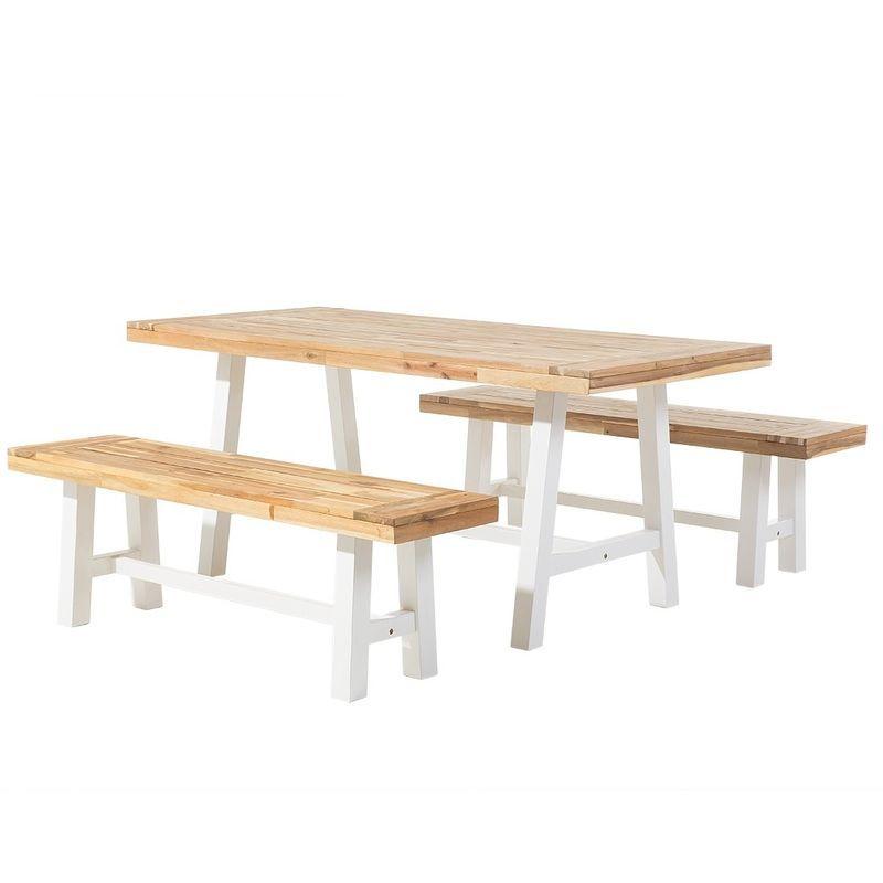Table et 2 bancs de jardin en bois blanc SCANIA - 38052 in ...