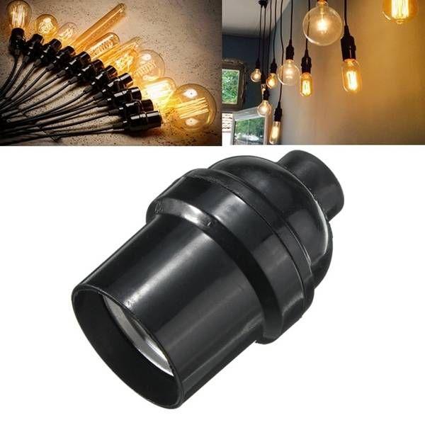 E27 E26 Light Bulb Lamp Holder Pendant Edison Screw Cap Socket Vintage Black 4a Sale Banggood Com Light Bulb Lamp Bulb Light Accessories