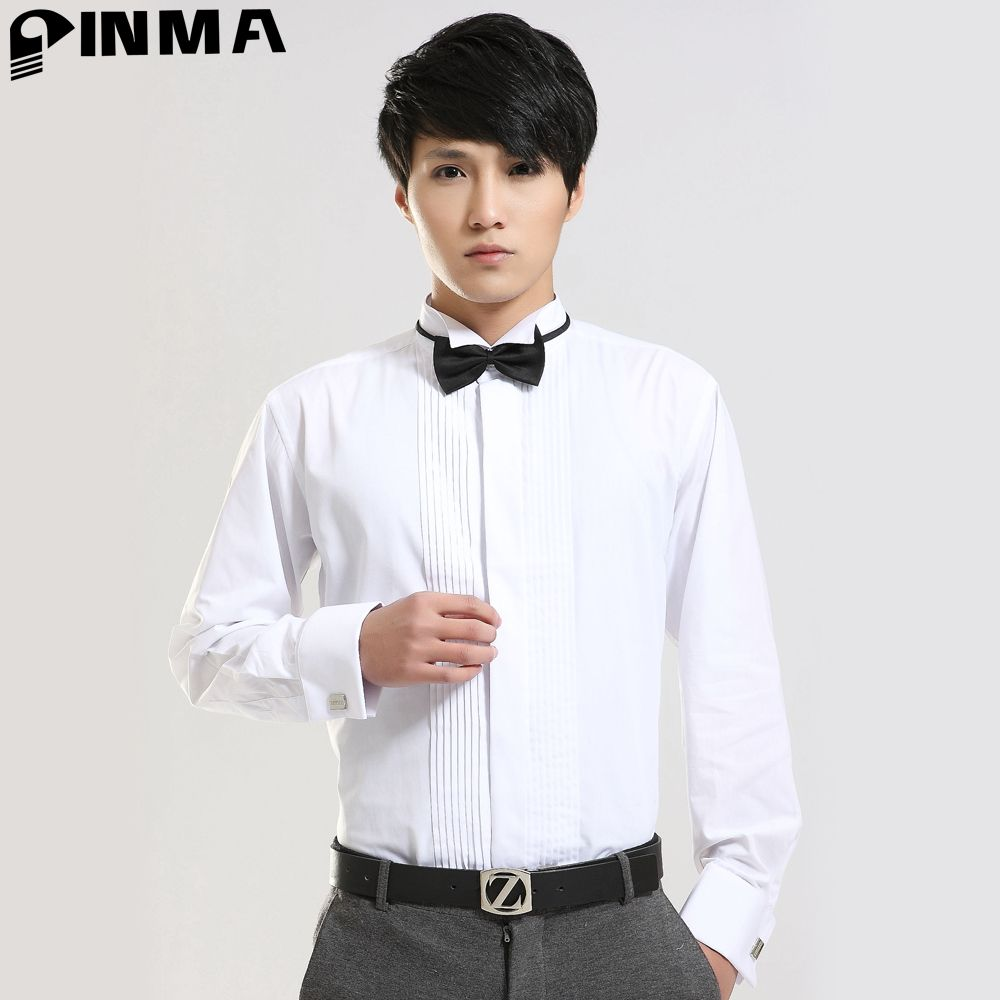 Click to Buy << Western Man Long sleeve Cuffs Dress Shirts Slim fit ...