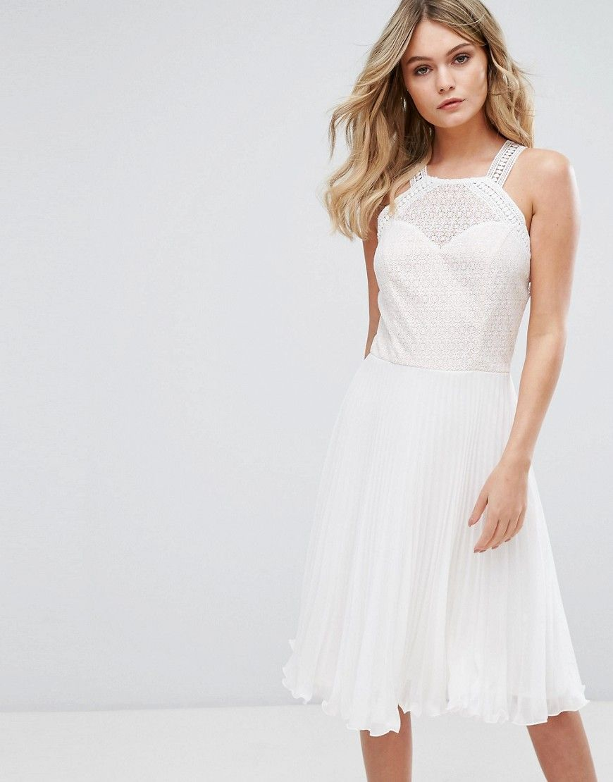 Elise ryan pleated dress with cutaway lace bodice white lace