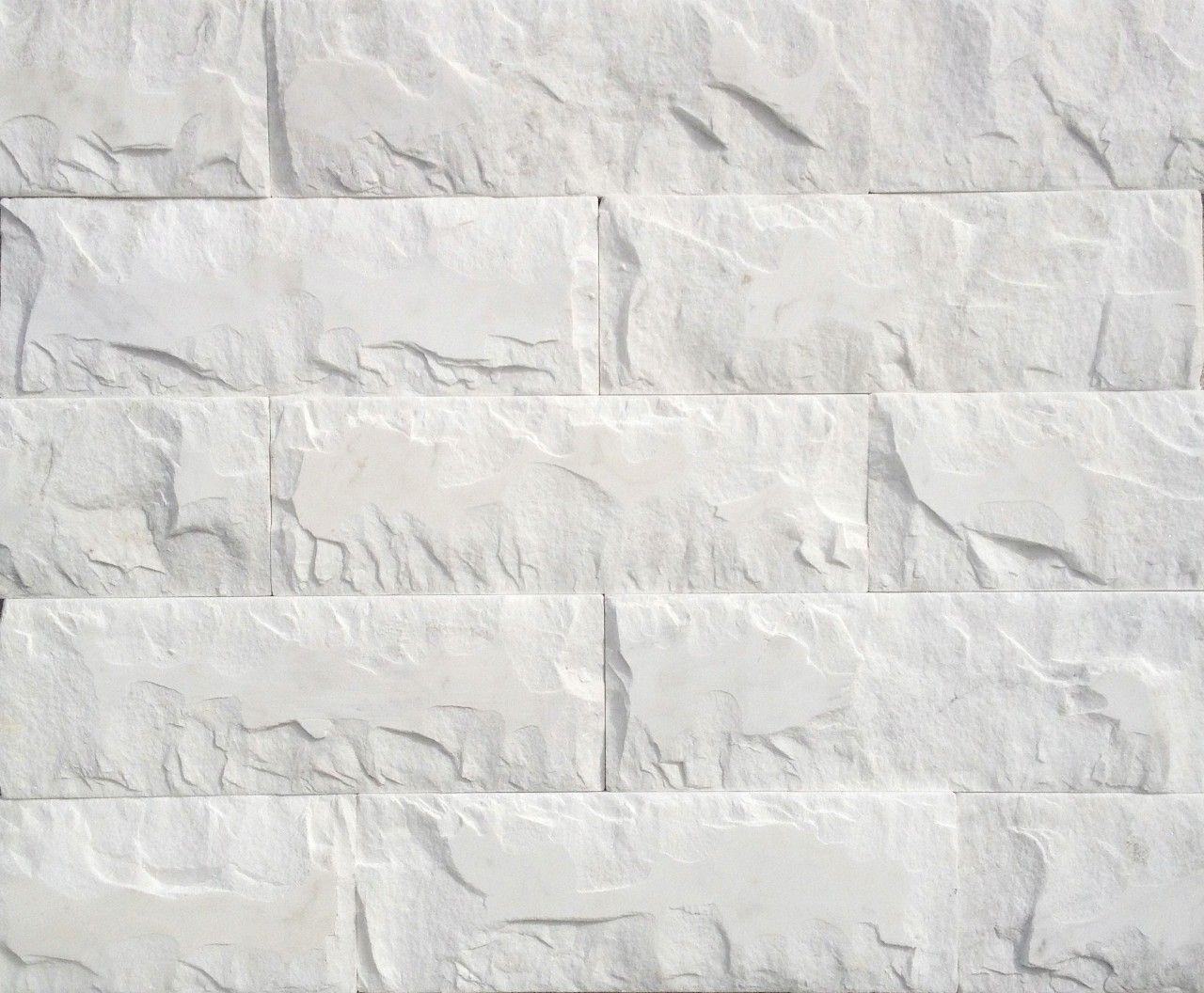 White Natural Stone : Split face stone tile random white tiles