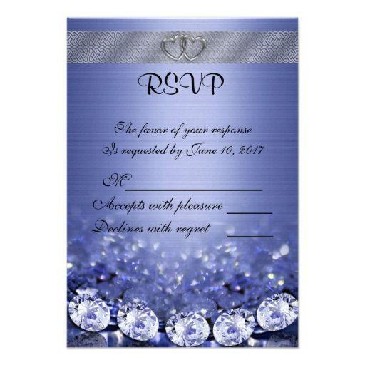 rsvp wedding response card diamonds and satin blue