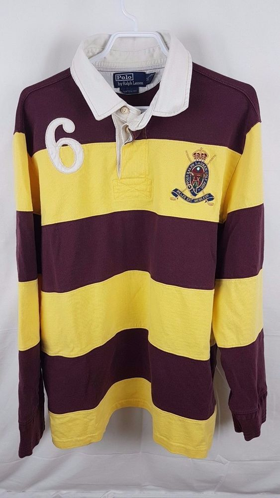 7f80d606fc0 Polo Ralph Lauren Long Sleeve XL Yellow Rugby Maroon Red Shirt Crest | eBay