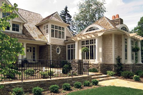Love the columns stone cedar shingles shaker siding - Home and architectural trends magazine ...