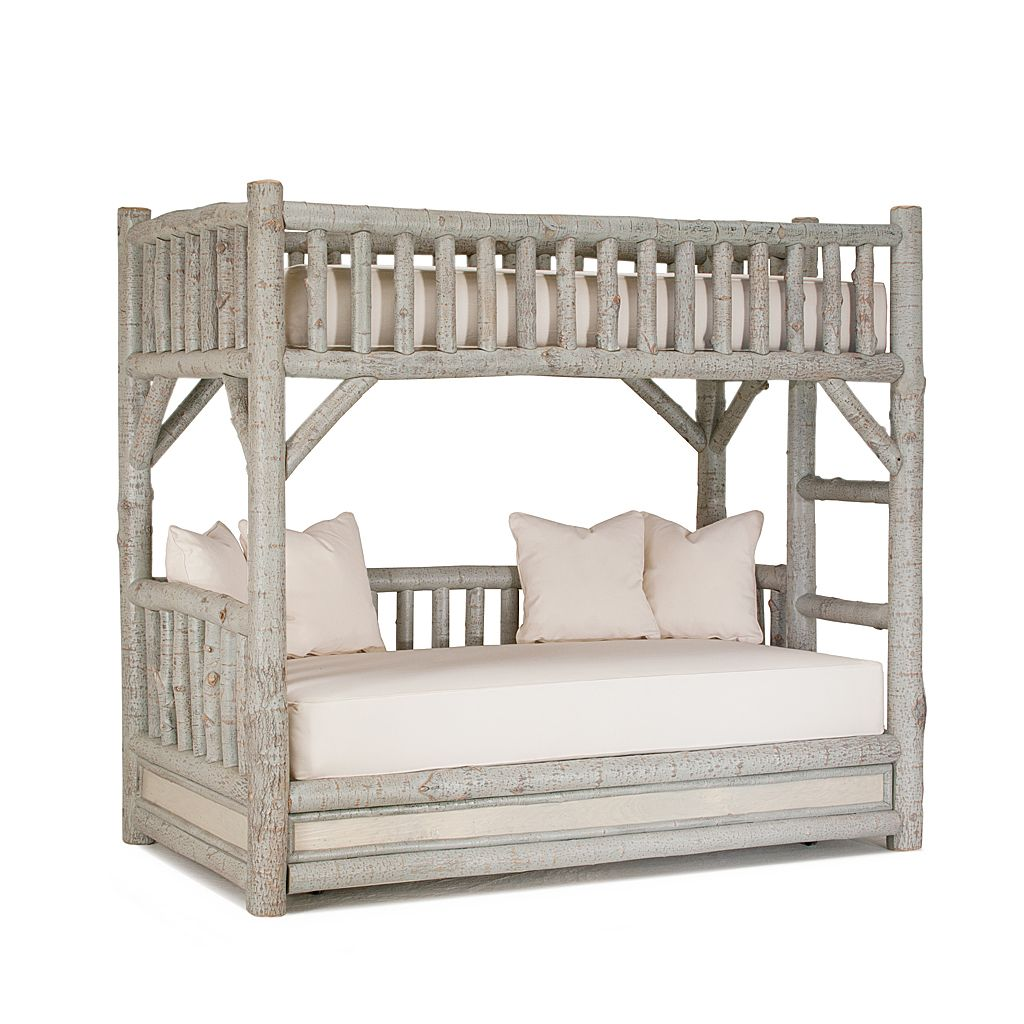 Rustic Bunk Bed with Trundle #4259 shown in Pewter Premium Finish (on Bark) by La Lune Collection