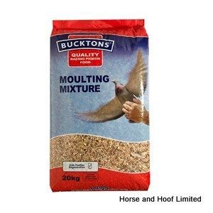 Bucktons Moulting Mix Pigeon Feed 20kg Bucktons Moulting Mix is a high protein feed that greatly aids feather regeneration by containing the required nutrition for plumage development.