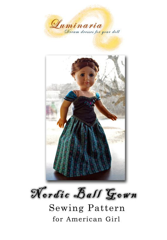 Doll Clothes Pattern in PDF To Make Nordic Ball Gown, Dress, Outfit ...