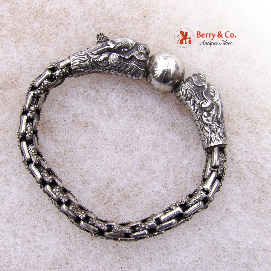 Chinese Export Silver Dragon Head Bracelet 1930s Silver Dragon Jewelry Gems Jewelry