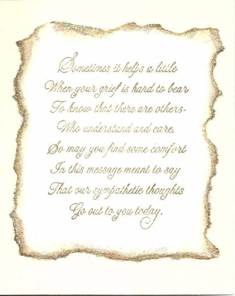 Example of inside simple sympathy card Cards - Sentiments - example of sympathy letter