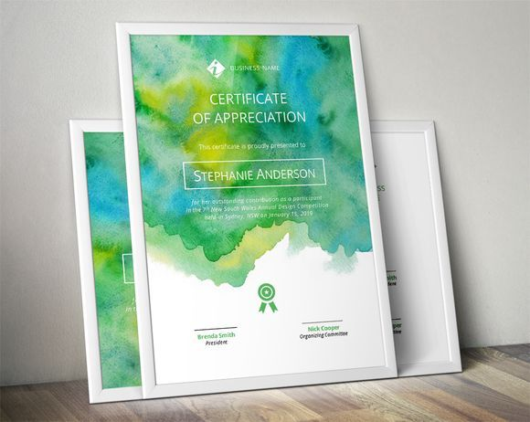 Best Watercolour certificate template CreativeWork247 - Fonts - Creative Certificate Designs