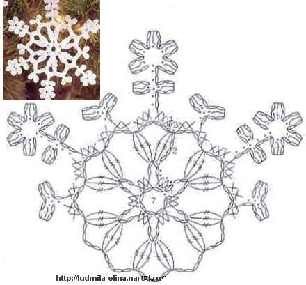 Вязаные снежинка схема