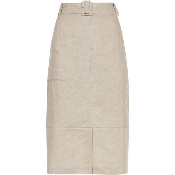 Jaeger Linen Belted Midi Skirt (5.780 RUB) ❤ liked on Polyvore featuring skirts, women skirts, linen midi skirt, belted skirts, short long skirts, long pink skirt and long skirts