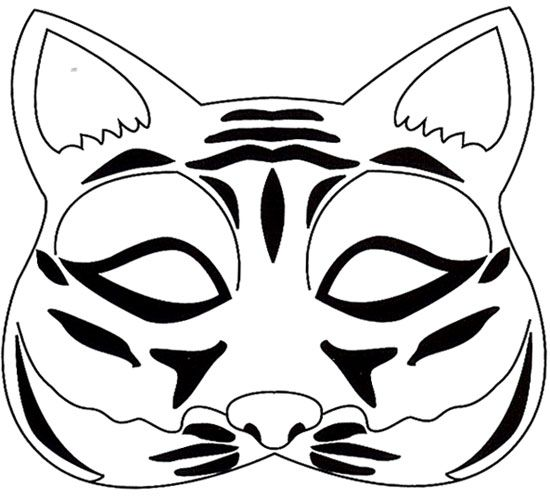 Masque de tigre tete de chat masque carnaval masque et carnaval - Chat coloriage masque ...