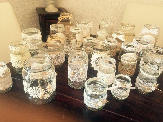 Handgefertigtes 30 Teiliges Vintage Dekoset Die Glaser Konnen Als Vasen Teelichthalter Oder Windlichte Vintage Hochzeit Deko Hochzeit Deko Hochzeit Deko Tisch