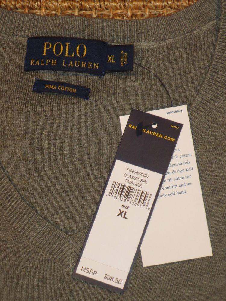 097588575b27e1 POLO RALPH LAUREN MEN'S SWEATER V - NECK PIMA COTTON XL X LARGE $98 TAG # PoloRalphLauren #VNeck