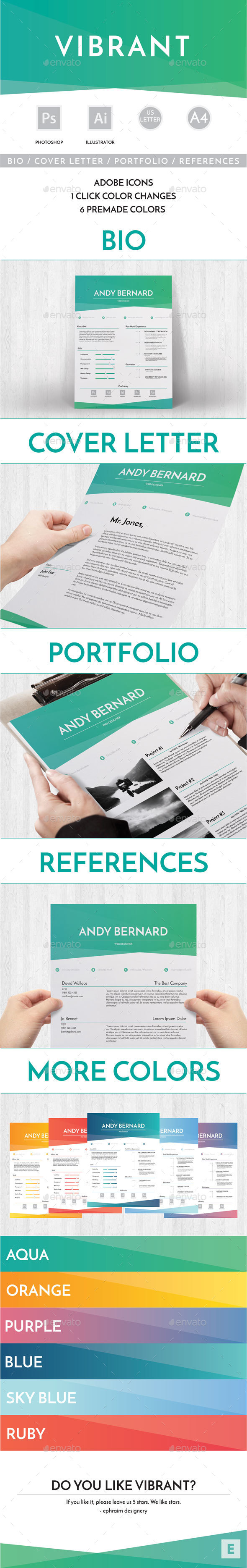 Vibrant Resume Template  Template