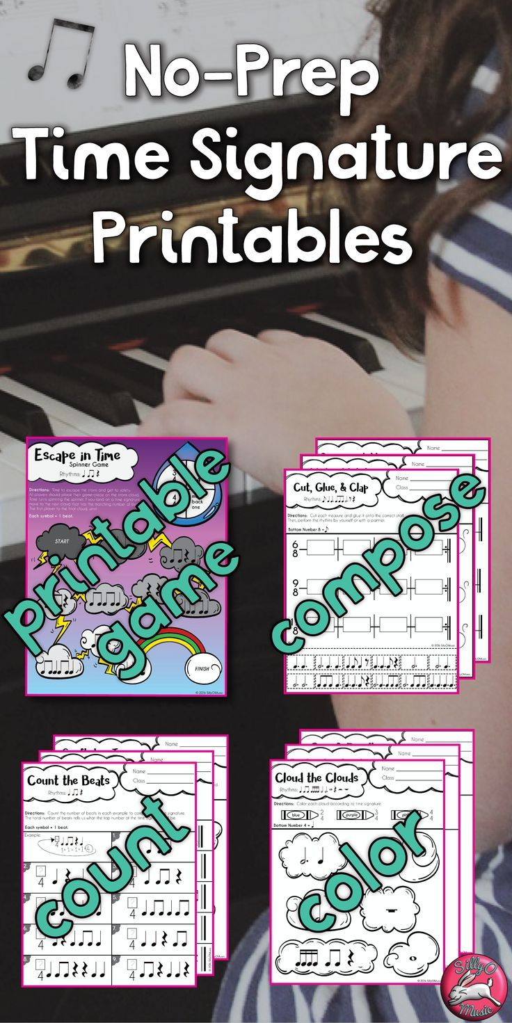 60 Time Signature Worksheets, different levels, plus printable board