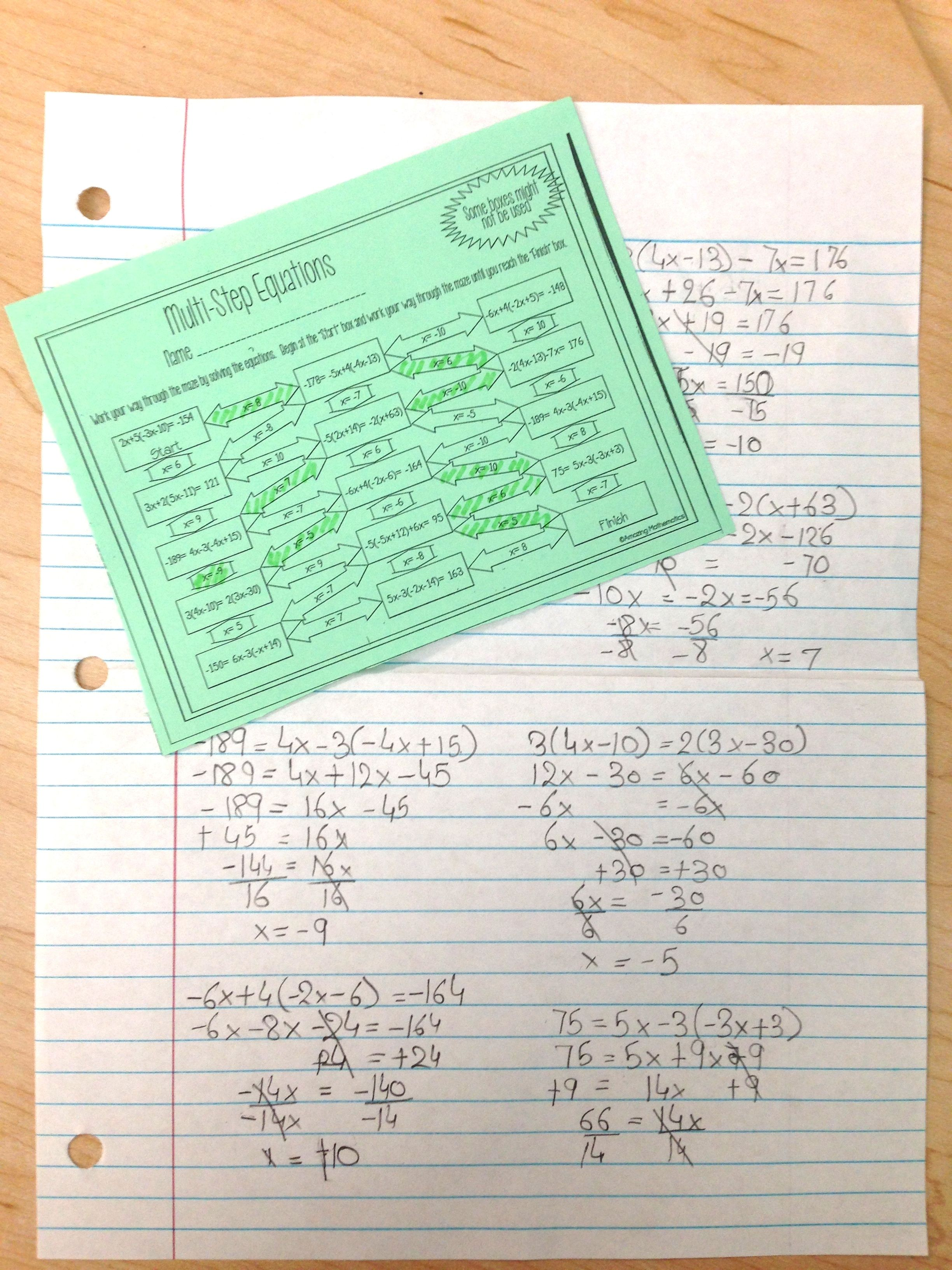 Solving Multi Step Equations Maze Worksheet