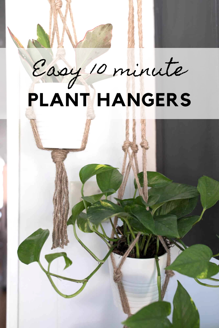 Macrame Plant Hanger DIY is part of Diy plant hanger, Diy macrame plant hanger, Diy plant hanger easy, Diy macrame plant hanger tutorials, Plant hanger, Macrame plant hanger tutorial - This simple DIY macrame plant hanger is perfect for spring  This simple macrame plant hanger tutorial costs less than $2 and takes 15 minutes to make
