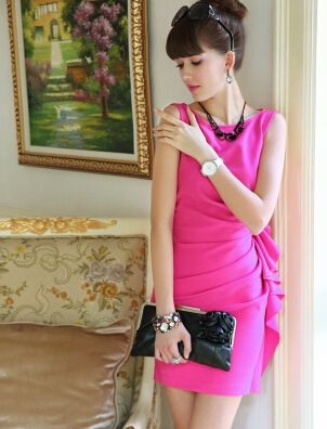 Rose inlay flouncing sleeveless dress Slim