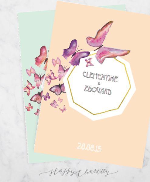 faire_part_mariage_papillons_geometrique_aquarelle_moderne_mint_peche