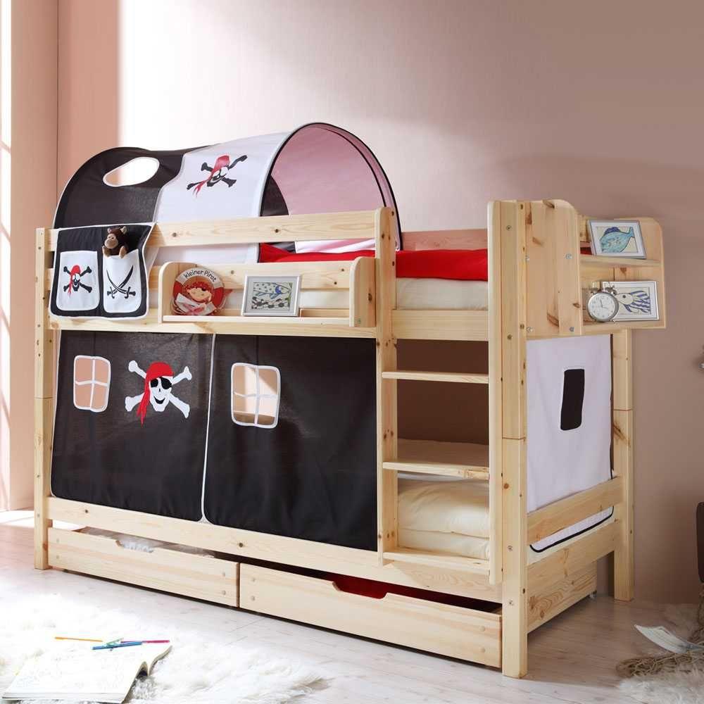 Mobby loft bed with stairs  Kinderetagenbett aus Kernbuche Massivholz Piraten Design Jetzt