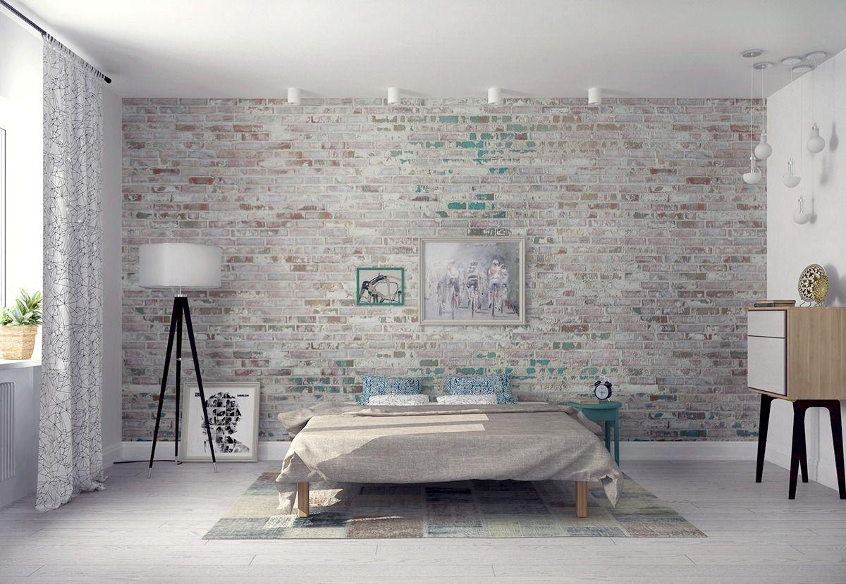 Charmant Chambre Moderne Avec Murs De Briques Blanches