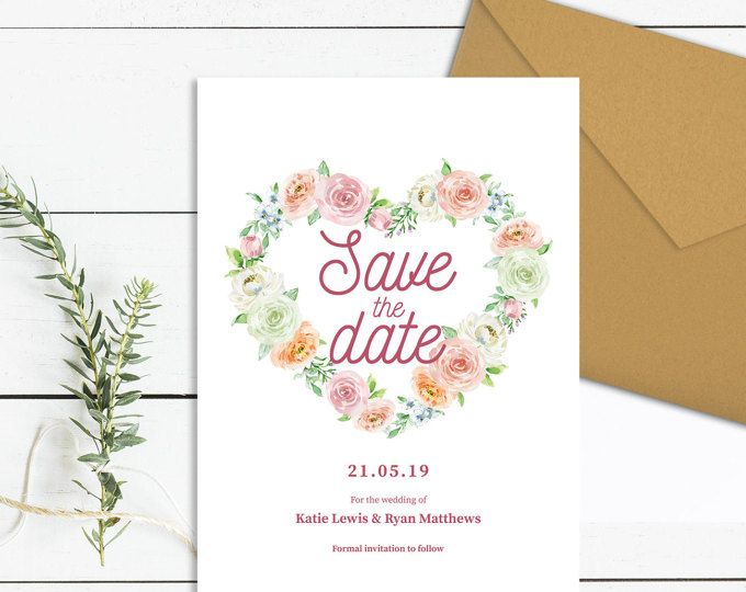 heart save the date template download printable peony save the