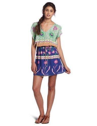 Compareand Lucy Love Juniors Happy Villa V-Neck Dress, Happy Print, Small...