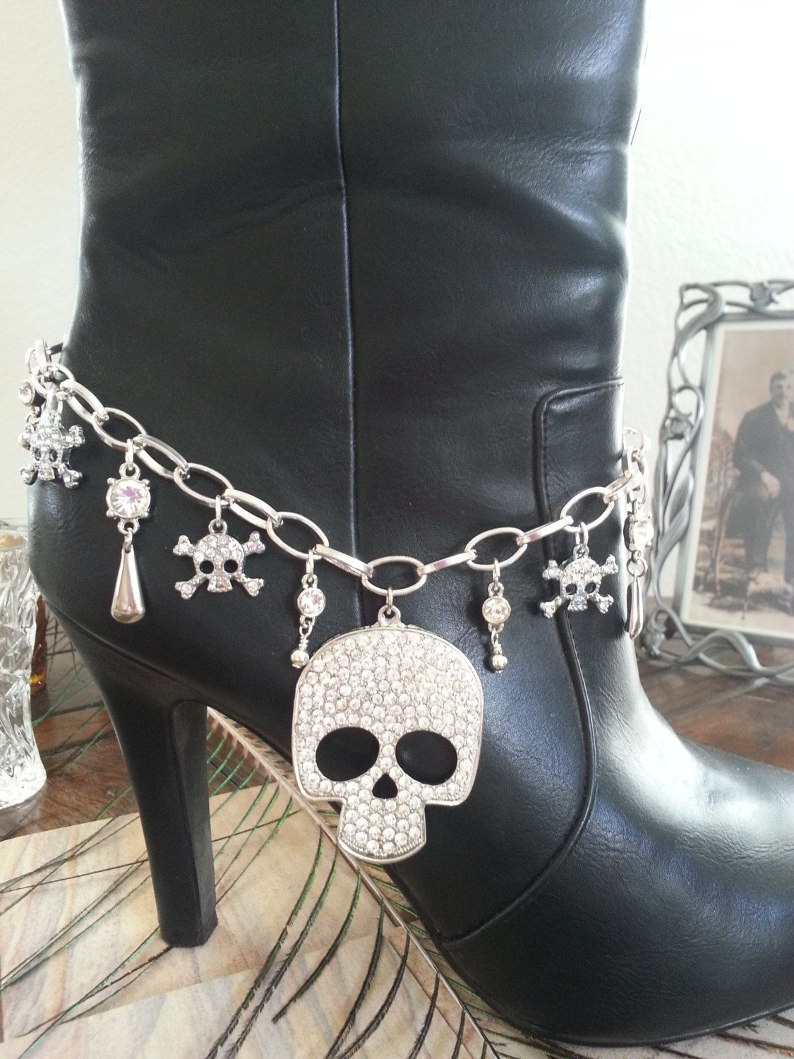 Rhinestone Skull Boot Anklet/Necklace by HowlingWolvesJewelry on Etsy
