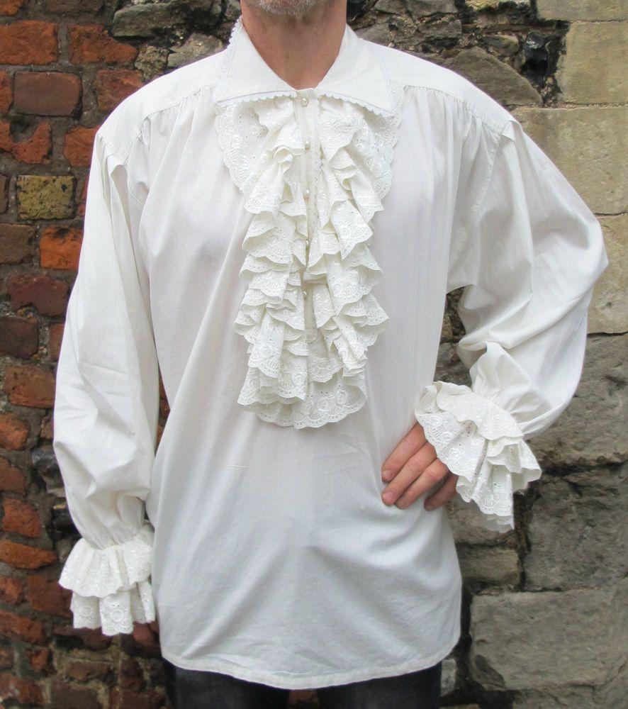Mens White Ruffle Frill Lace Pirate Vampire Dress Dinner