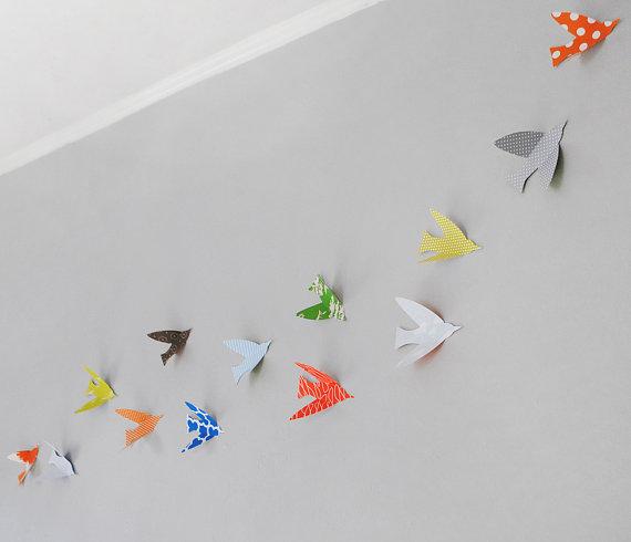 Bird Wall Art, birds, baby wall art, modern nursery art, custom wall ...