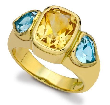 Citrine and Blue Topaz Gypsy Ring