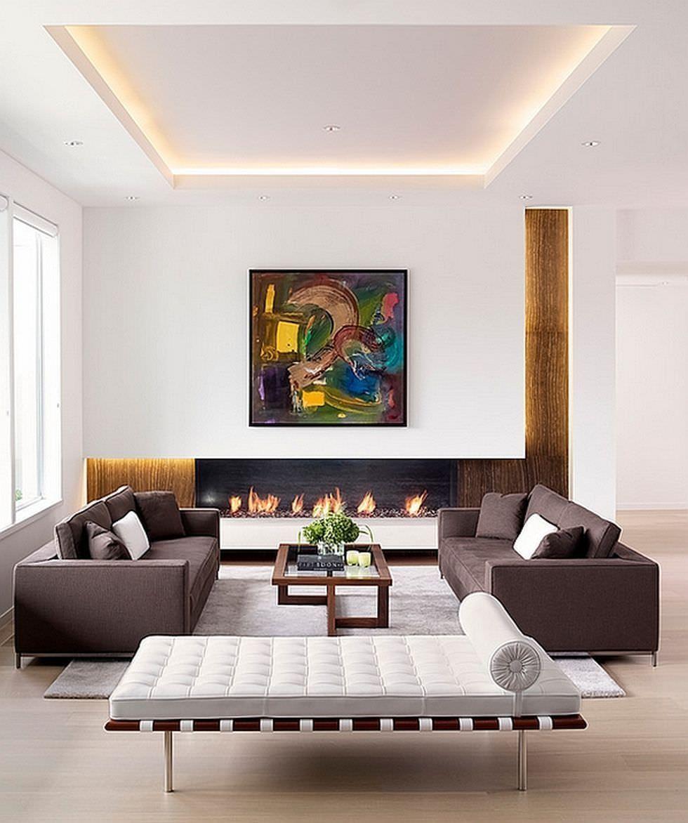 Parete Attrezzata Con Cornice parete attrezzata in cartongesso per un soggiorno moderno