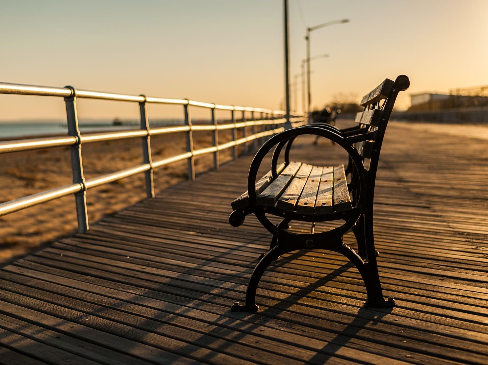 Bench At Brighton Beach Boardwalk - Huney Co