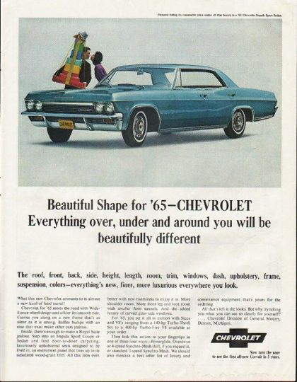 1965 Chevrolet Impala Vintage Ad Beautiful Shape Model Year