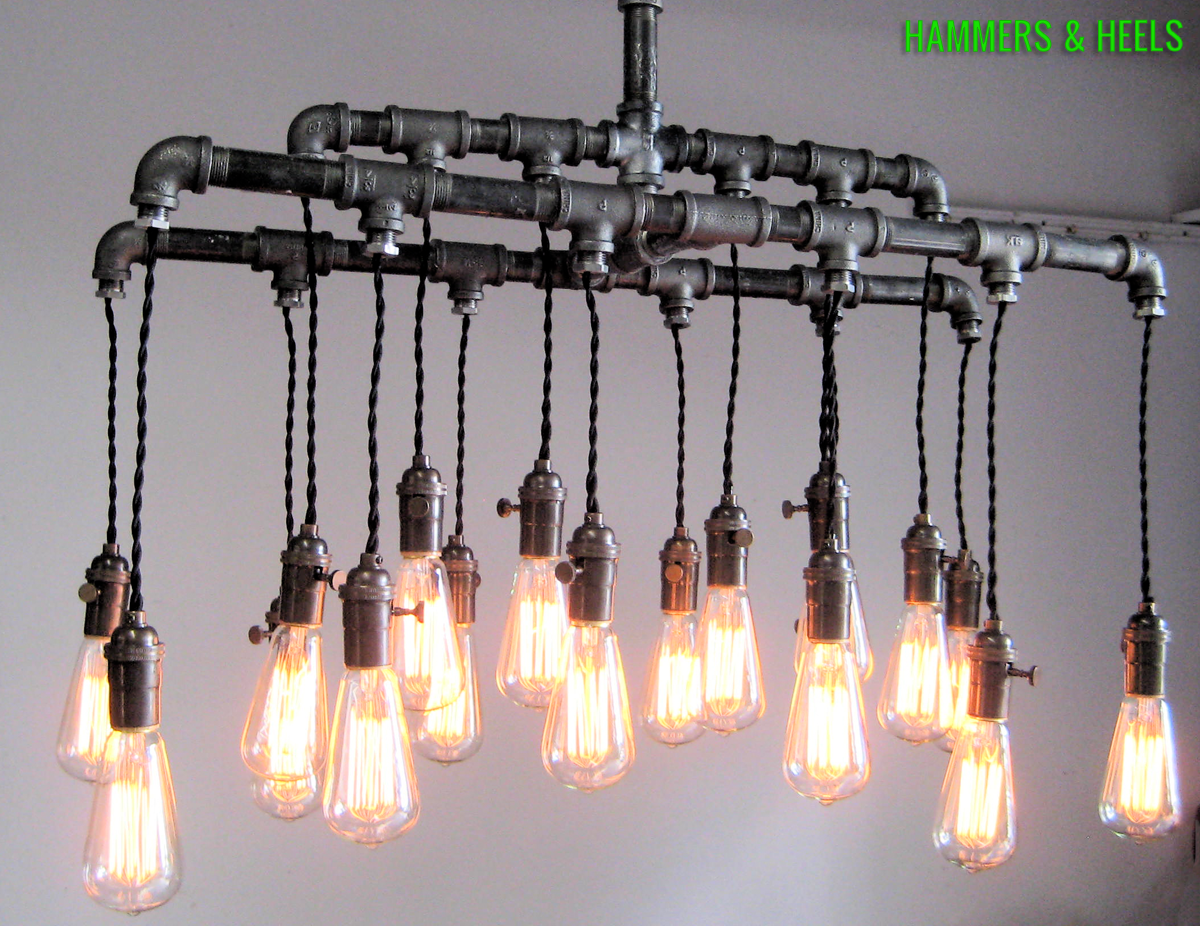 Industrial Modern Steel Piping Pendant Chandelier With