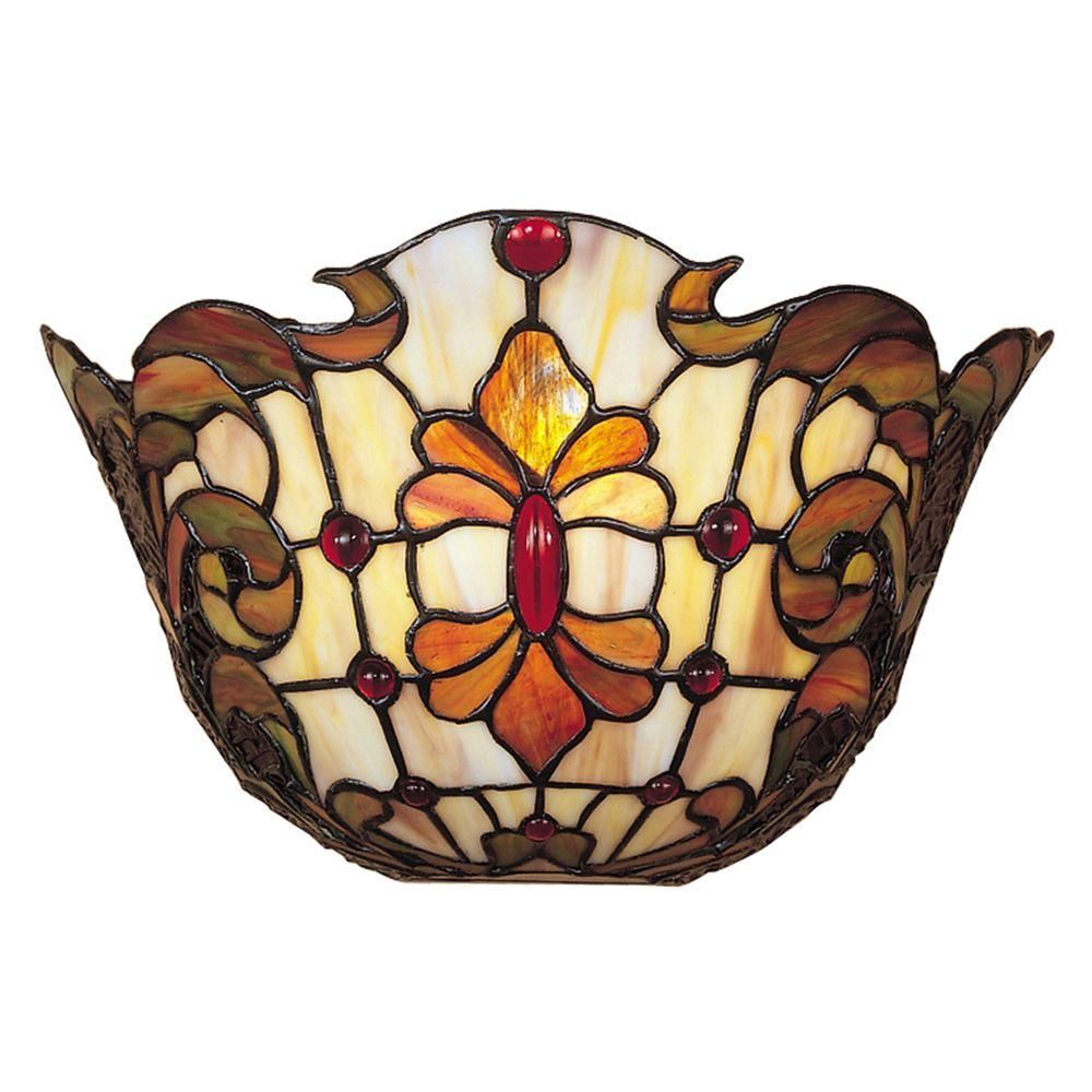 Dale Tiffany 1 Light White Leland Tiffany Sconce Tw100886 The Home Depot Glass Wall Sconce Wall Sconces Stained Glass Lamps