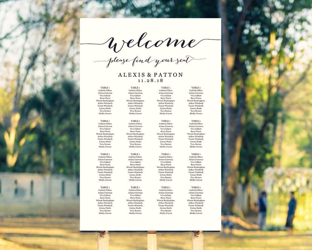 Wedding Seating Chart Template in FOUR Sizes, Welcome Please Find ...