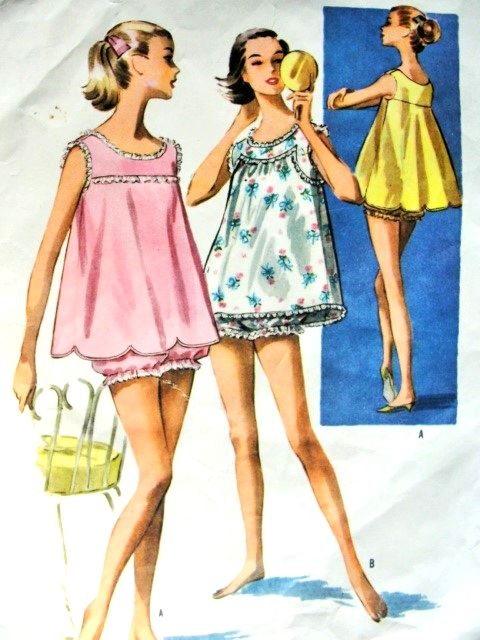 fdb2c3d299 1950s Baby Doll Pajamas Pattern McCalls 4030 Flirty Shortie PJs Lingerie  Two Styles Of Tops Bust 34 Vintage Sewing Pattern